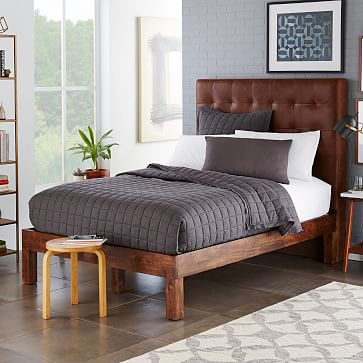 grid tufted leather bed molasses west elm
