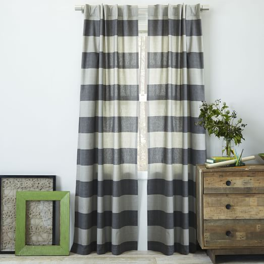 Cotton Canvas Bold Stripe Curtain – Slate | west elm