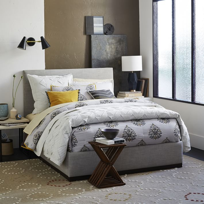 plinth upholstered bed frame platinum west elm