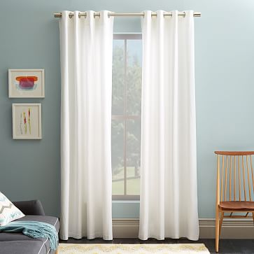 Cotton Canvas Grommet Curtain White West Elm