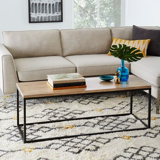 box frame coffee table whitewashed mango west elm