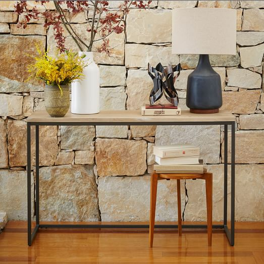 Box Console Table ~ Box frame console table wood antique bronze west elm