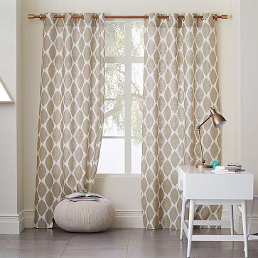 Ikat Ogee Linen Curtain Ivory Straw West Elm