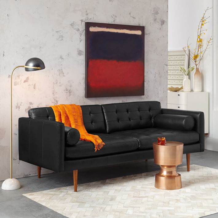 Monroe Mid-Century Leather Sofa - Nero | west elm