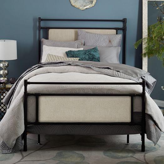 Rhodes upholstered metal bed west elm - Bed elm massief ...