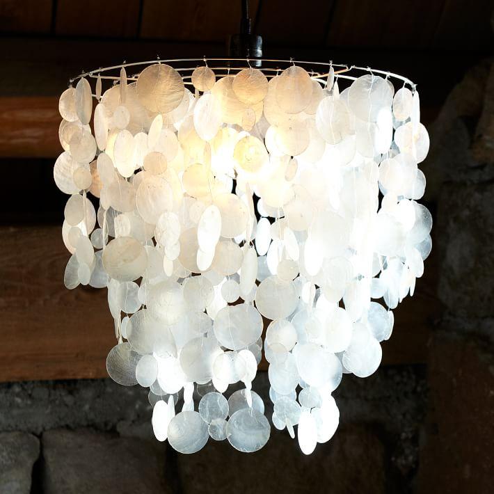 Capiz Round Pendant White – Capiz Shell Chandelier Lighting