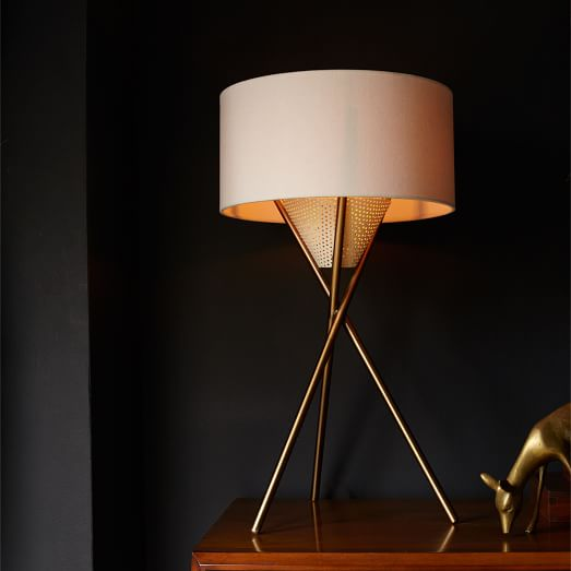 Mid Century Vintage Lights For Sale: Mid-Century Tripod Table Lamp - Antique Brass
