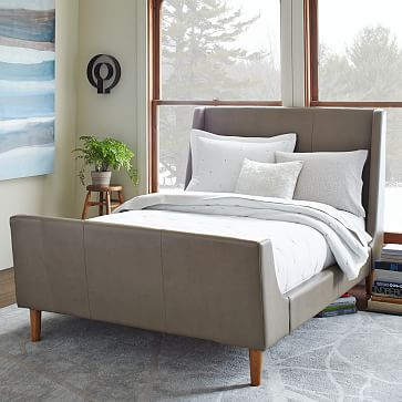 leather sleigh bed elephant gray