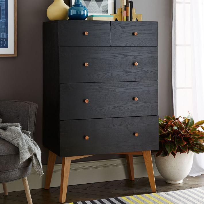 . Tall Storage 5 Drawer Dresser   Black   west elm