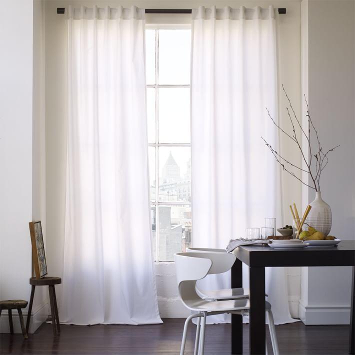 cotton canvas curtain  white  west elm, Bedroom decor