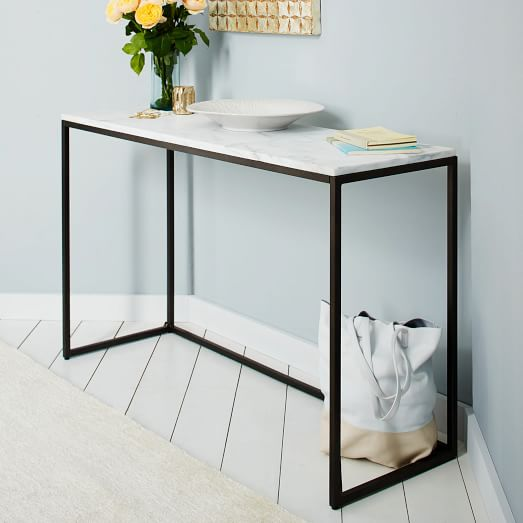 box frame console marbleantique bronze west elm