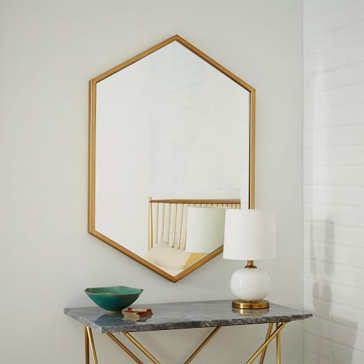 metal framed hexagon mirror antique brass west elm