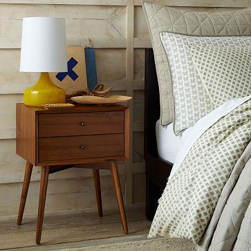 Mid Century Nightstand   Acorn. Wood Tiled Nightstand   west elm