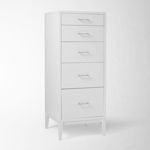 Narrow-Leg 5-Drawer Dresser - White | west elm