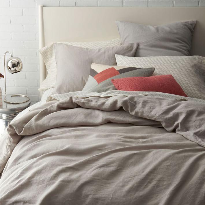 linen duvet cover set light gray