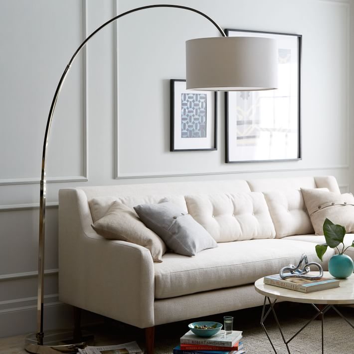 Overarching Linen Shade Floor Lamp - Polished Nickel | West Elm