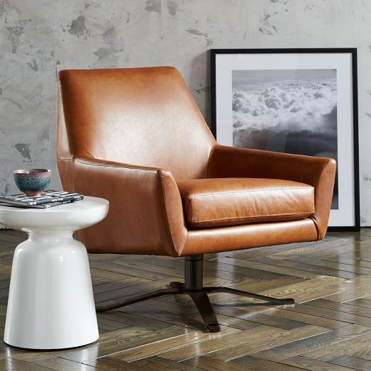 Lucas Leather Swivel Base Chair West Elm