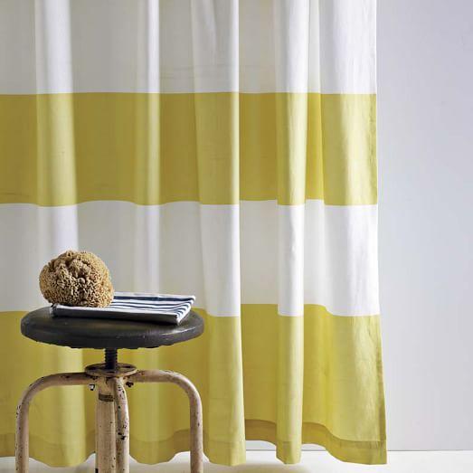 Stripe Shower Curtain - Citron   west elm