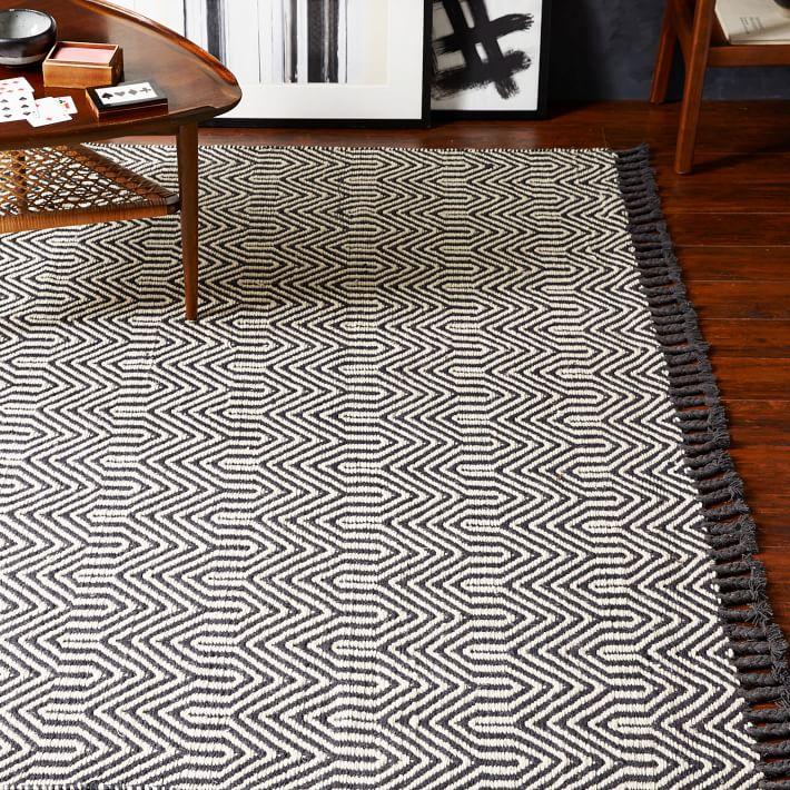 Area rug on tile floor
