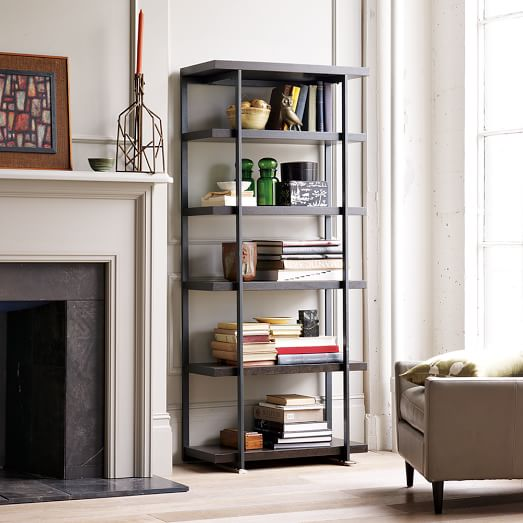 Flat bar bookcase west elm for Open shelves in living room