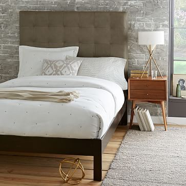 tall grid tufted leather bed elephant gray west elm