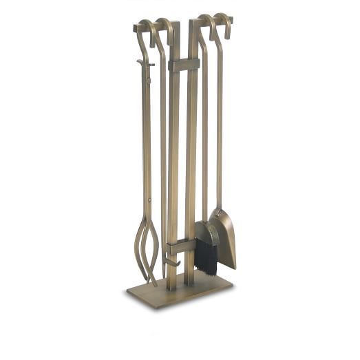 Fireplace Accessories Tool Set, Burnished Bronze - 4-Pc. Burnished Brass Fireplace Tool Set West Elm