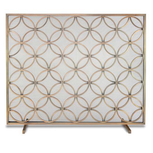 Single Panel Fireplace Screen, Burnished Brass - Single Panel Fireplace Screen - Burnished Brass West Elm