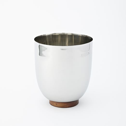 Mid-Century Entertaining, Silver Metal + Wood, Ice Bucket