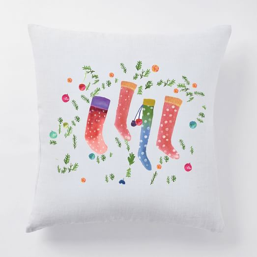 Holiday Illustrations Digital Print Pillow Cover, White Linen, Stockings