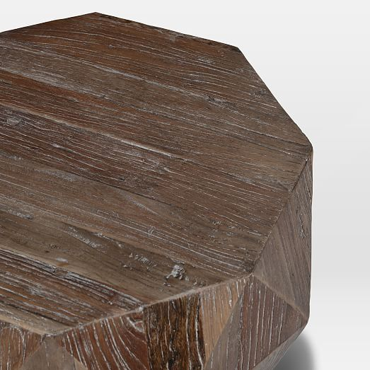 Reclaimed Wood Faceted Side Table