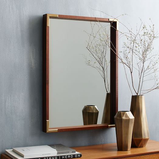 Malone Campaign Wall Mirror, Walnut/Antique Brass