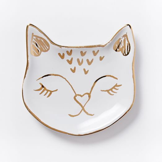 Cat Ring Dish, White/Gold