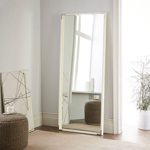 Malone Campaign Floor Mirror, White Lacquer/Polished Nickel