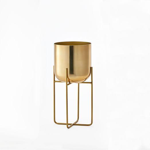 Spun Metal Standing Planter, Brass, Medium