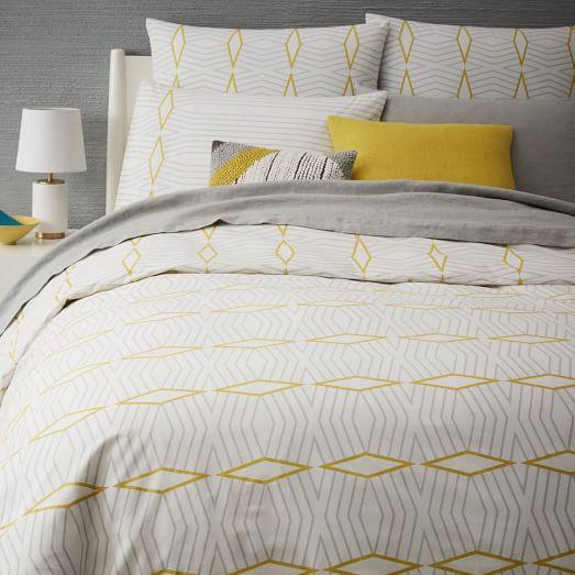 organic diamond stripe duvet cover shams west elm. Black Bedroom Furniture Sets. Home Design Ideas