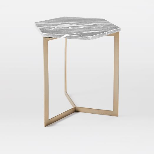 Hex Side Table, Black Gray-Marble/Antique Brass