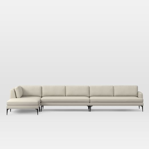 Andes Set 9: Right 2.5 Seater Sofa, Ottoman, Corner, Armless 2 Seater, Performance Tweed, Natural, Dark Pewter
