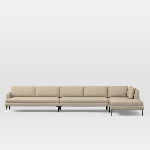 Andes Set 10: Left 2.5 Seater Sofa, Ottoman, Corner, Armless 2 Seater, Performance Tweed, Sand, Dark Pewter