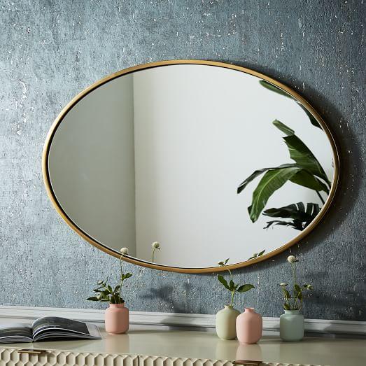 metal framed oval wall mirror antique brass west elm