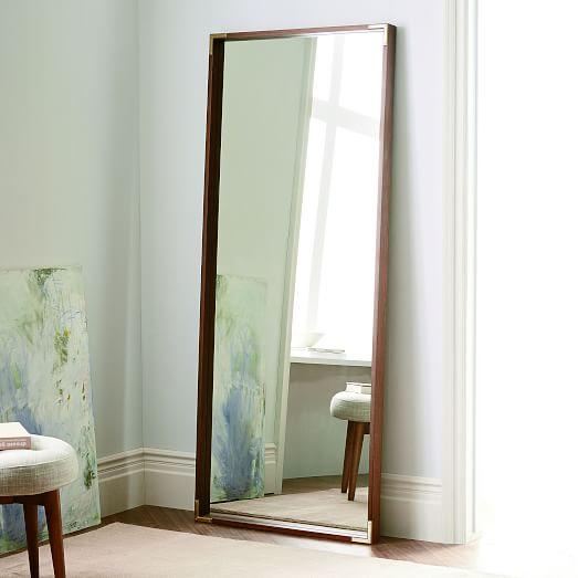 Malone Campaign Floor Mirror, Walnut/Antique Brass