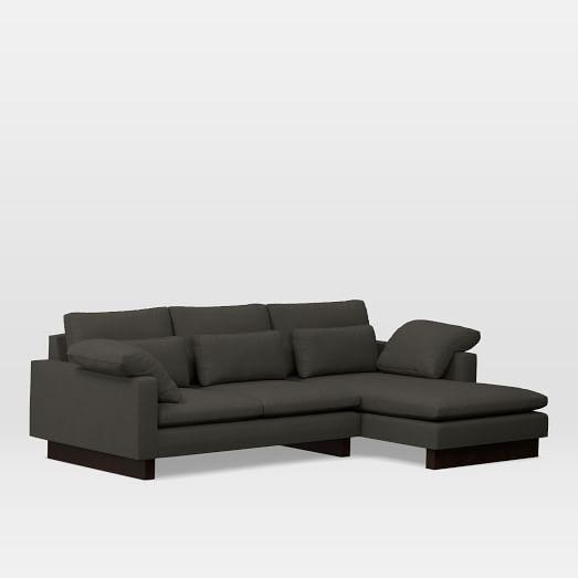 Harmony Set 1: Left Arm Sofa, Right Chaise, Performance Basketweave, Metal