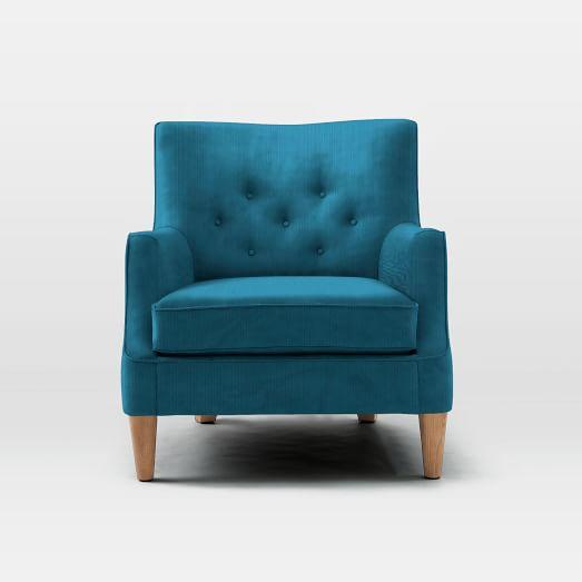 Livingston Chair, Luster Velvet, Celestial Blue