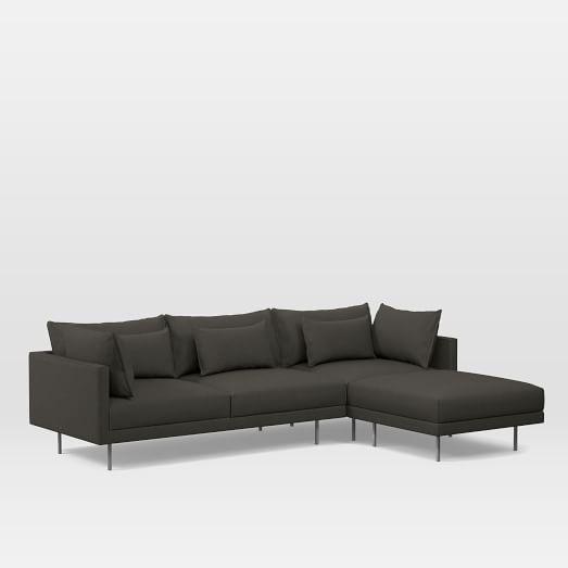 Halsey Set 1: Left Arm Sofa, Corner, Ottoman, Performance Basketweave, Metal, Burnished Bronze