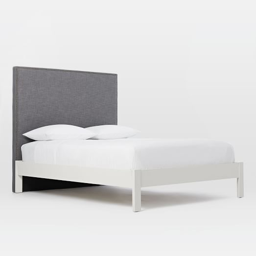 tall nailhead headboard steel gray simple bed frame white west elm