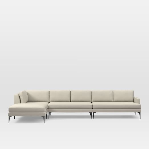 Andes Set 11: Right 2 Seater Sofa, Ottoman, Corner, Armless 2 Seater, Performance Tweed, Natural, Dark Pewter