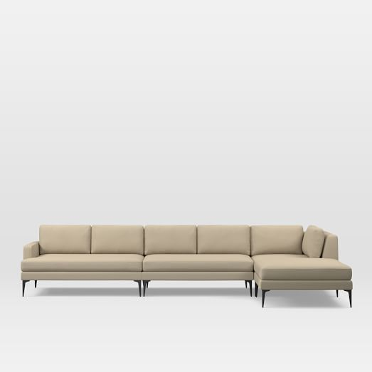 Andes Set 12: Left 2 Seater Sofa, Ottoman, Corner, Armless 2 Seater, Performance Tweed, Sand, Dark Pewter