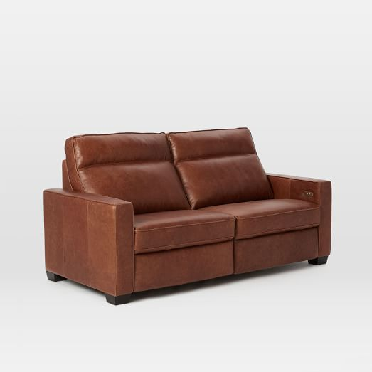Henry® Leather Power Recliner Sofa, Tobacco