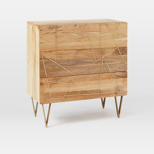 Roar + Rabbit Brass Geo-Dresser 3-Drawer, Mango/Antique Brass