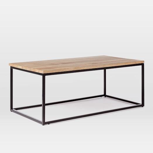 Box Frame Coffee Table, Raw Mango / Antique Bronze