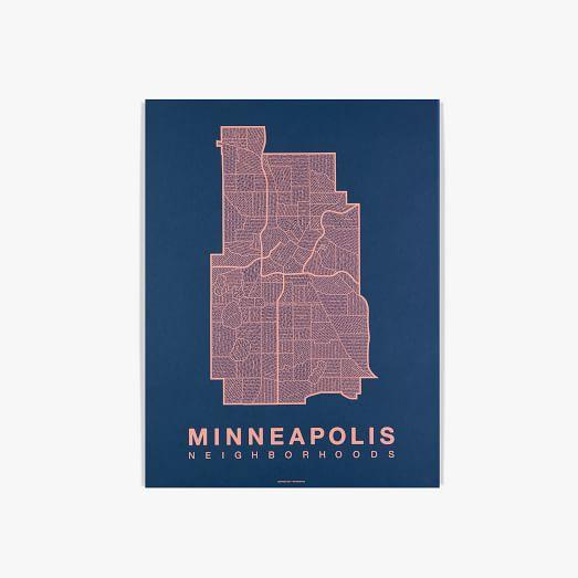 Native Maps, Minneapolis, Coral + Navy